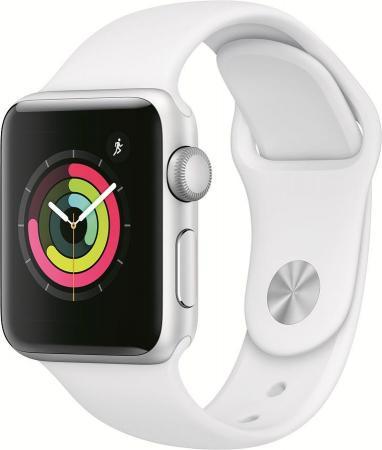 Apple Watch Series 3, 38 мм, корпус из серебристого алюминия, спортивный ремешок белого цвета [MTEY2RU/A]
