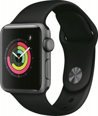 Apple Watch Series 3, 38 мм, корпус из алюминия цвета «серый космос», спортивный ремешок черного цвета [MTF02RU/A]