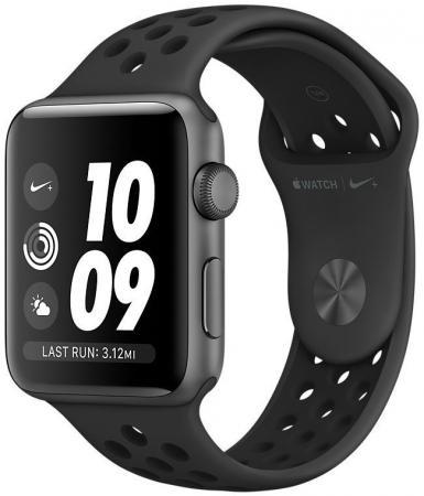 Apple Watch Nike+ Series 3 38 мм, корпус из алюминия цвета серый космос, спортивный ремешок   антрацитовый/черный [MTF12RU/]