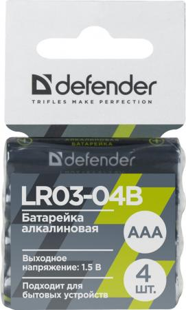 Батарейки Defender LR03-04B AAA 4 шт 56008 батарейки defender lr6 04b aa 4 шт 56028