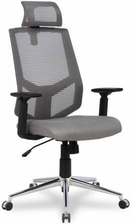 Кресло офисное COLLEGE HLC-1500F-1D-2 Серый, сетчатый акрил,120 кг, крестовина хром,твердые подлокотники,высота спинки 42см, (ШxГxВ), см 66x59x98-108