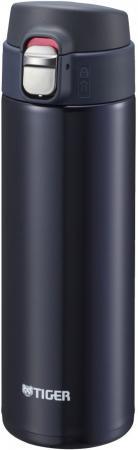 Термокружка Tiger MMJ-A048 Blue Black 0,48 л (цвет иссиня-черный, откидная крышка на кнопке, нержавеющая сталь) термокружка tiger mmp s030 champagne gold 0 3 л нержавеющая сталь цвет шампанского