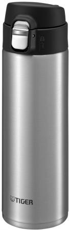 Термокружка Tiger MMJ-A060 Clear Stainless 0,60 л (цвет стальной), откидная крышка на кнопке, нержавеющая сталь)