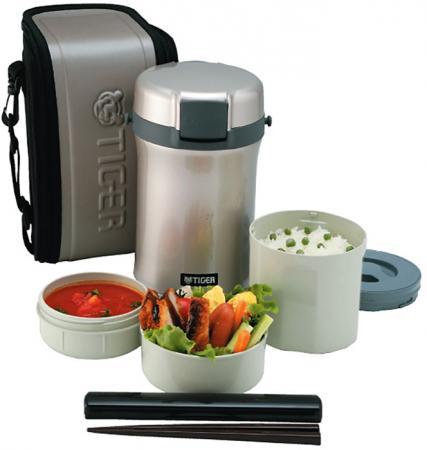 Термос для еды с контейнерами Tiger LWU-B200 Warm Silver (цвет серебряный, в комплекте контейнеры 0,8л, 0,34л, 0,27л, жесткий чехол с регулируемым нап