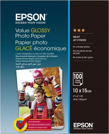 Фотобумага Epson Value Glossy Photo Paper 10x15cm (100 листов) (183 г/м2) фотобумага epson value glossy photo paper 183g m2 10x15cm 50 листов c13s400038