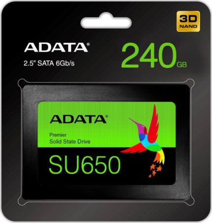 "Накопитель SSD 2.5"" 240 Gb A-Data ASU650SS-240GT-R Read 520Mb/s Write 450Mb/s 3D NAND цена 2017"