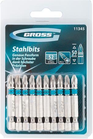 Набор бит GROSS 11345 pz2х50 сталь s2 10шт gross 20801