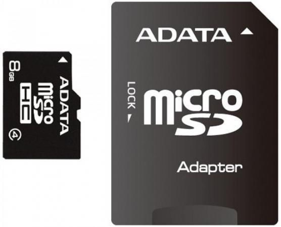 Карта памяти 8GB MicroSDHC Class 4 ADATA + адаптер карта памяти leef microsdhc class 10 8gb