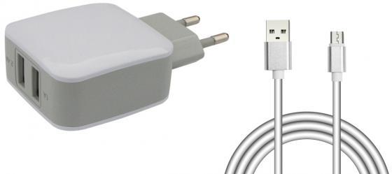 все цены на Сетевое зарядное устройство Jet.A UC-S18 1/2.4 А microUSB белый онлайн