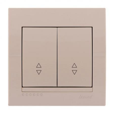 Выключатель LEZARD 702-0303-106 проходной двойной серия скр.проводки Дери кремовый