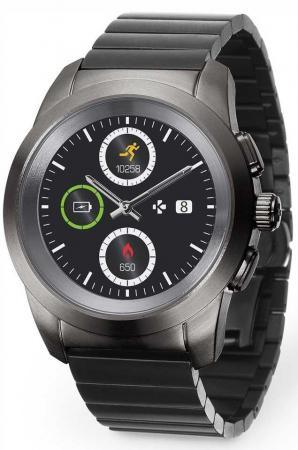 Гибридные смарт часы MyKronoz ZeTime Elite Regular блочный металлический ремешок цвет титан, 44 мм