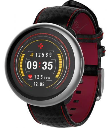 Смарт часы MyKronoz ZeRound2HR Premium цвет матовое серебро, ремешок цвет черный карбон с красной прострочкой цена и фото