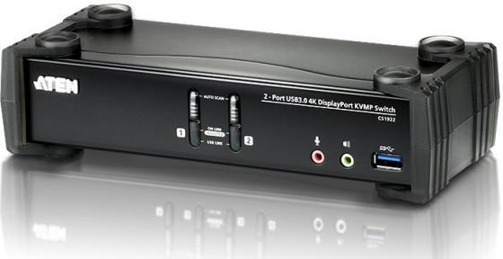 Переключатель KVM ATEN CS1922-AT-G Переключатель, электрон., KVM+Audio+USB 3.0, 1 user USB+DP => 2 cpu USB+DP, со шнурами DP 2x1.5м.+USB 2х1.8м., 3 цена и фото