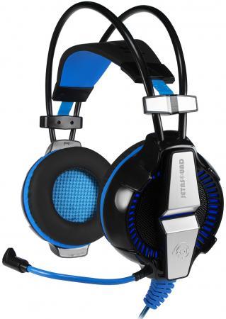 Игровая стереогарнитура с LED-подсветкой Jet.A GHP-400 чёрно-синяя (звуковая схема 2.0, ПУ на шнуре, 2x mini jack 3.5мм 3pin+USB + адаптер mini jack 3 переходник 3 5 jack на usb
