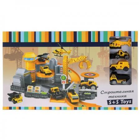 Парковка со строительной техникой (3 машинки + вертолет) в кор. в кор.2*12шт каталка на палочке s s toys вертолет желтый от 1 года пластик