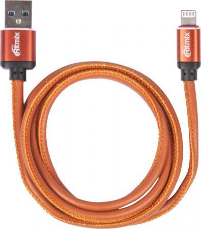 Кабель Lightning 1м Ritmix RCC-425 Leather круглый оранжевый кабель lightning 1м ritmix rcc 221 круглый