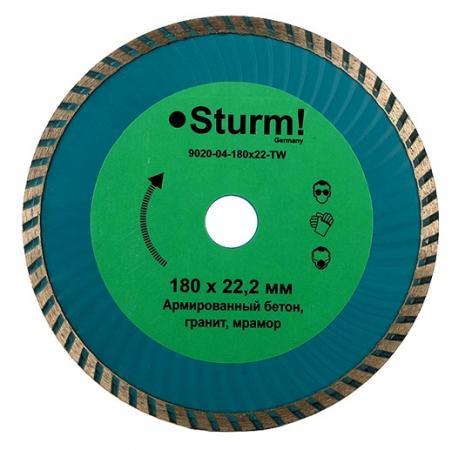 Круг алмазный STURM! 9020-04-180x22-TW сухая/влажная резка turbo wave 180мм круг отрезной sturm 9020 07 230x25