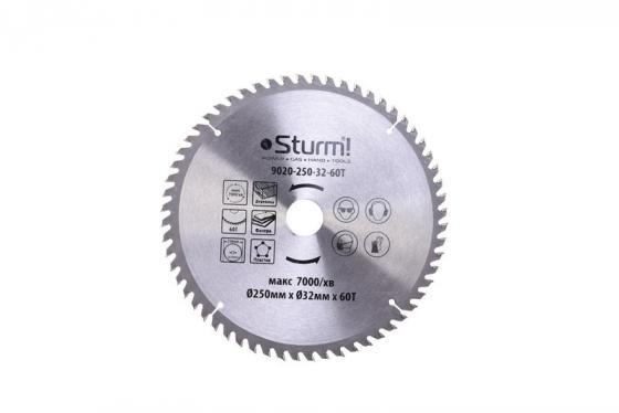 Диск пильный твердосплавный STURM! 9020-250-32-60T 250x32x60 зубов с переход. кольцом на 30мм цена