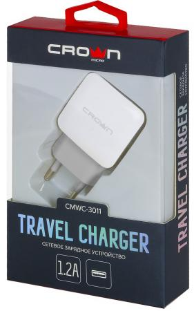 Сетевое зарядное устройство CROWN CMWC-3011 1.2A белый сетевое зарядное устройство crown cmwc 3061f qc 3 0 3a белое