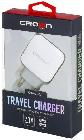Фото - Сетевое зарядное устройство CROWN CMWC-3022 2.1A белый зарядное