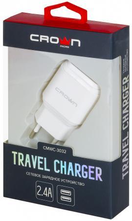 Фото - Сетевое зарядное устройство CROWN CMWC-3032 1/2.4 А белый зарядное