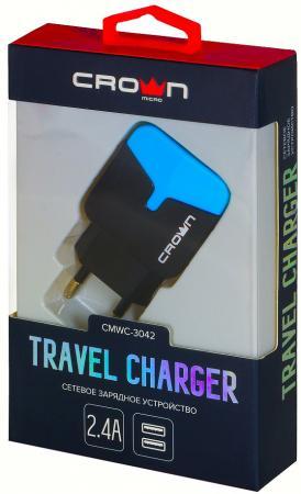 Сетевое зарядное устройство CROWN CMWC-3042 1/2.4 А черный