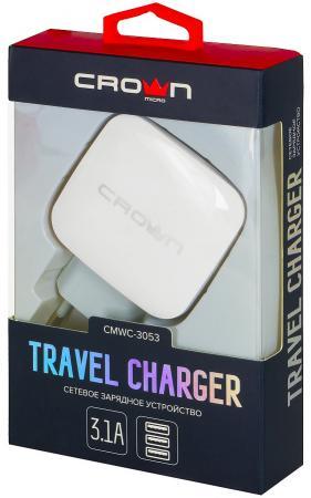 Сетевое зарядное устройство CROWN CMWC-3053 3.1/1 А белый сетевое зарядное устройство crown cmwc 3061f qc 3 0 3a белое