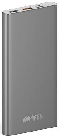 Мобильный аккумулятор Hiper MPX10000 Li-Pol 10000mAh 3A+3A+1A серый 2xUSB мобильный аккумулятор hiper travel10k li pol 10000mah 2 4a 2 4a синий 2xusb