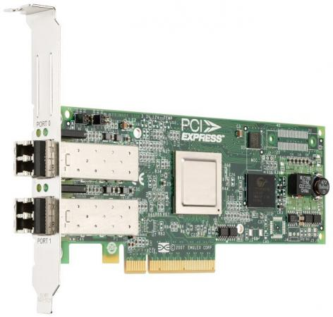 Адаптер Dell Emulex LPe12002 Dual Channel 8Gb PCIe Host Bus Low Profile (406-BBHB) адаптер dell qlogic 2562 dual port 8gb fibre channel hba pci e x8 full profile kit 406 bbek
