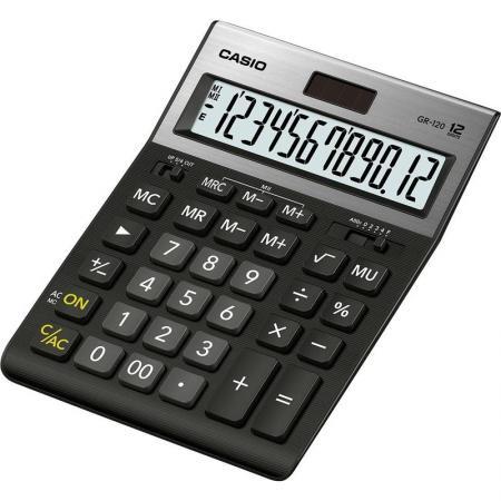 Калькулятор настольный CASIO GR-120-W-EP 12-разрядный черный калькулятор casio dh 12 коричневый черный