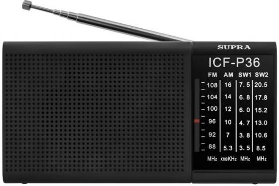 Радиоприемник портативный Supra ST-12 черный радиоприемник supra st 125 черный
