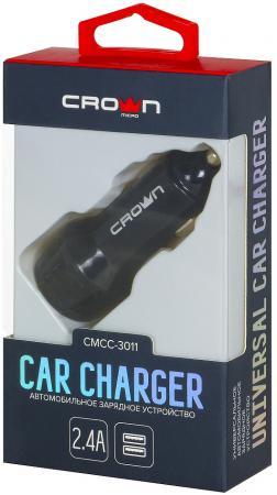 Автомобильное зарядное устройство Crown CMCC-3011 1/2.4 А черный зарядное