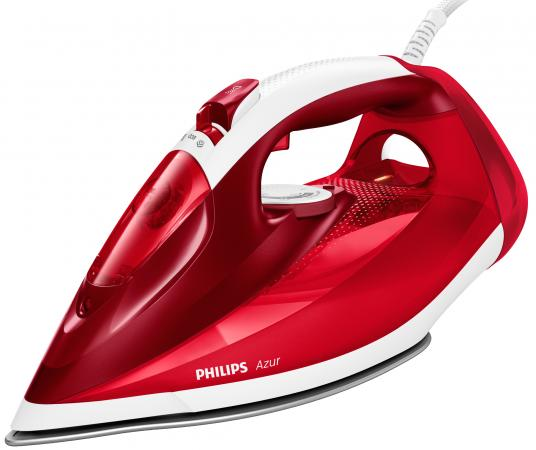Утюг Philips/ 2500 Вт, Удар: 200г, Подача: 45 г/мин., Подошва: SteamGlide Plus, красный/белый утюг philips gc3801 60 steamglide 2400вт керам