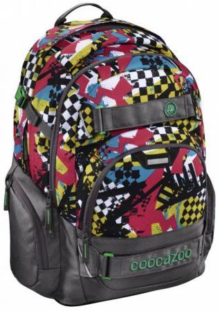Школьный рюкзак светоотражающие материалы Coocazoo CarryLarry2: Checkered Bolts 30 л серый красный 00129970 цена и фото