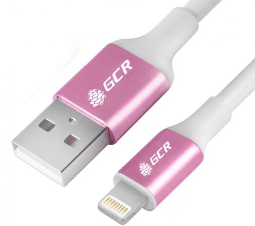 лучшая цена Кабель Lightning 1.5м Green Connection GCR-50778 круглый белый/розовый
