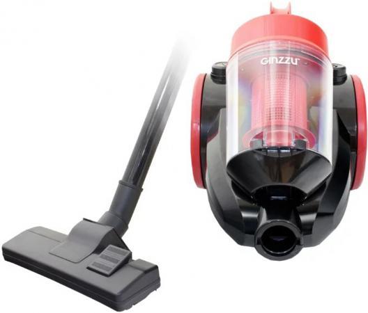 Пылесос Ginzzu VS422, 1600/270Вт, без мешка, черный/красный пылесос ginzzu vs117