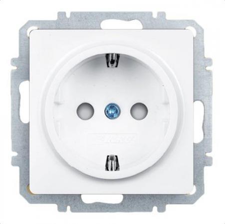 Розетка ZAKRU 600451 CLASICO со шторками и заземлением (Белый) 230В/50Гц 16А