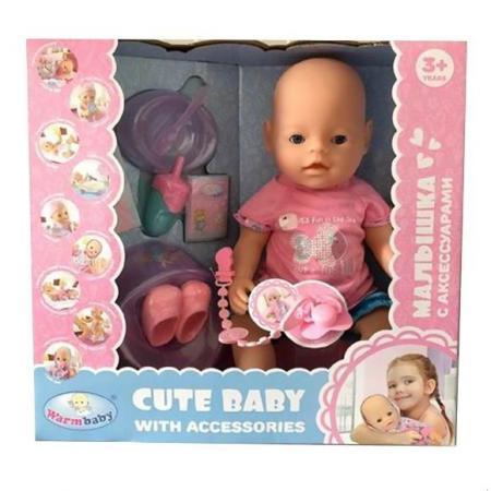 Кукла-младенец Наша Игрушка Малышка в роз.футболочке 40 см плачущая писающая пьющая кукла младенец shantou gepai прелестная малышка y16203244 40 см писающая пьющая y16203244