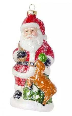 Елочные украшения Новогодняя сказка Дед Мороз 13.5 см 1 шт пластмасса, блестки ёлочное украшение новогодняя сказка дед мороз 13 см пластик