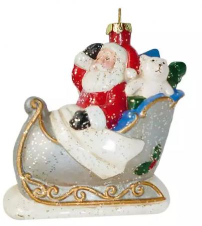 Елочные украшения Новогодняя сказка Дед Мороз в санях 10,4 см 1 шт пластик, блестки ёлочное украшение новогодняя сказка дед мороз 13 см пластик