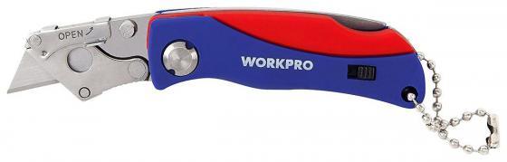 купить Нож WORKPRO W011008 строительный складной мини 105мм нержавеющая сталь с 5 запасными лезвиями по цене 580 рублей