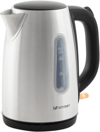 Чайник электрический KITFORT КТ-632 2200 Вт чёрный серебристый 1.7 л металл/пластик цена и фото