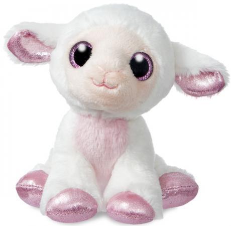 Мягкая игрушка овечка Aurora 18 см белый фиолетовый текстиль наполнитель