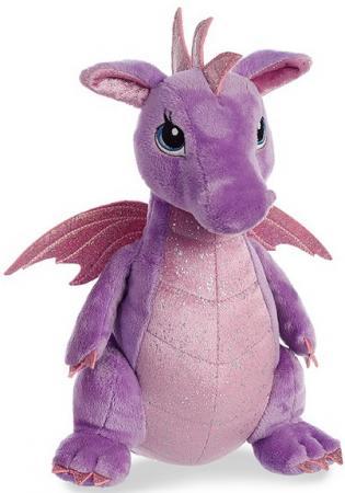 Мягкая игрушка дракон Aurora 30 см фиолетовый плюш синтепон текстиль мягкая игрушка овечка aurora 18 см белый фиолетовый текстиль наполнитель