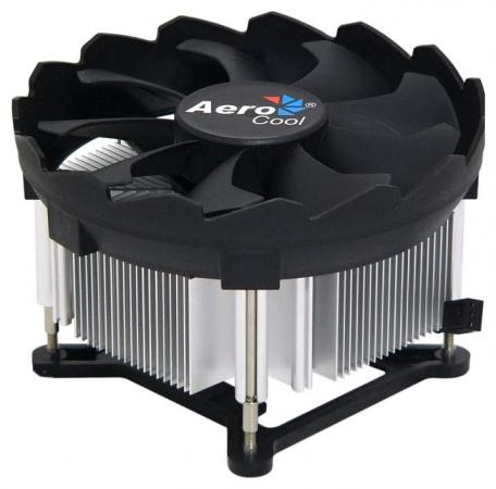 Кулер Aerocool BAS-B9SP , INTEL only, bulk, push pins, 94x94x57mm, TDP 80W, PWM 4-pin, 1000-2300rpm, LGA 1150/1151/1155/1156 кулер titan dc 156v925x r intel lga 1150 1155 1156 95x95x45 3 pin 2200 rpm