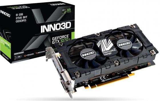 Видеокарта Inno3D Inno3D GeForce GTX 1070 Ti X2 V2 (1607Mhz / 8.0Gbps) / 8GB GDDR5 / 256-bit / Dual DVI + DP + HDMI / VA10C / GP104F8521 видеокарта inno3d geforce gtx 1070 ti twin x2 8gb n107t 1sdn p5dn