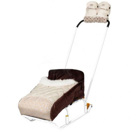 Комплект для санок RT Принцесса (матрасик+варежки) бежевый матрасик для санок меховой для snow baby dream стандарт далматинец