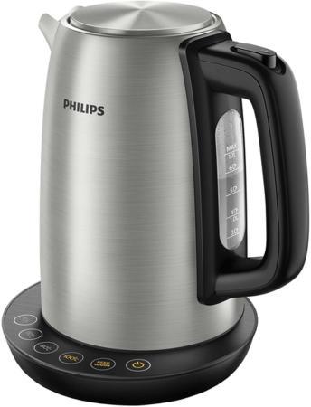 Чайник электрический Philips HD9359/90 2200 Вт серебристый чёрный 1.7 л нержавеющая сталь чайник электрический philips hd9302 2400вт серебристый и черный