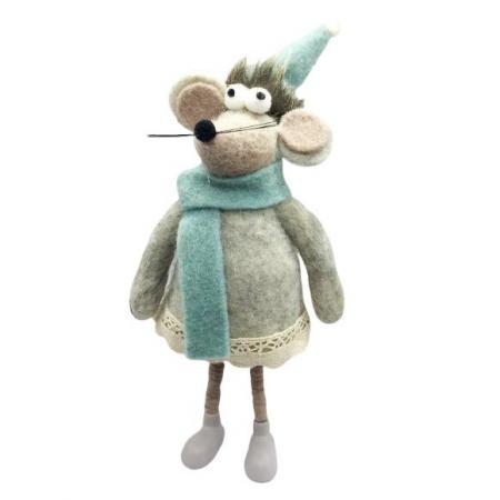 Фигурка Мышка с голубым шарфом 10*9*24 см амберкинг фигурка мышка zoo 24