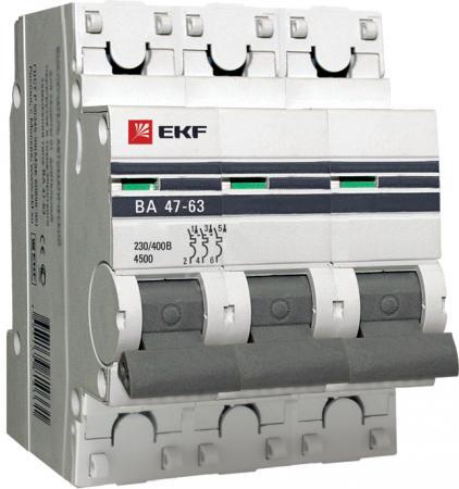 Выключатель EKF mcb4763-3-40D-pro авт. мод. 3п d 40а ва 47-63 4.5ка proxima ограничитель ekf opv d1